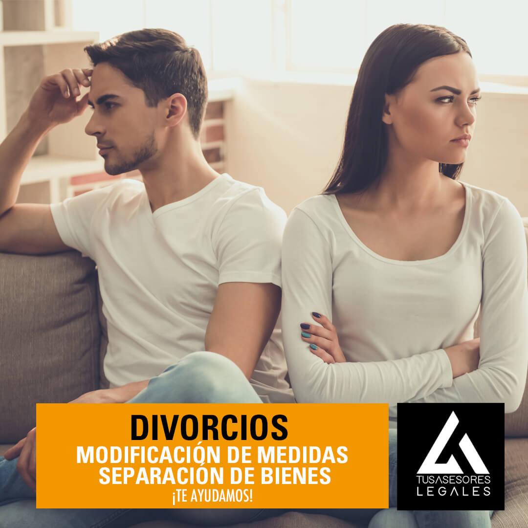 Divorcios modificación de medidas separación de bienes